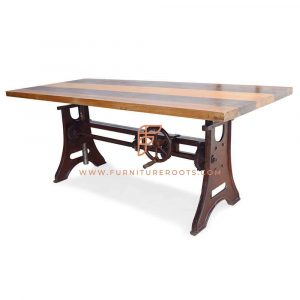 Height-Adjustable Rectangular Dining Table with Lateral Trestle Legs Base and Solid Wood Top