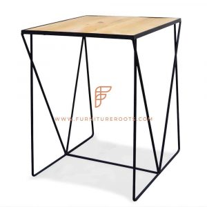 Contemporary Wood Metal Regular Table