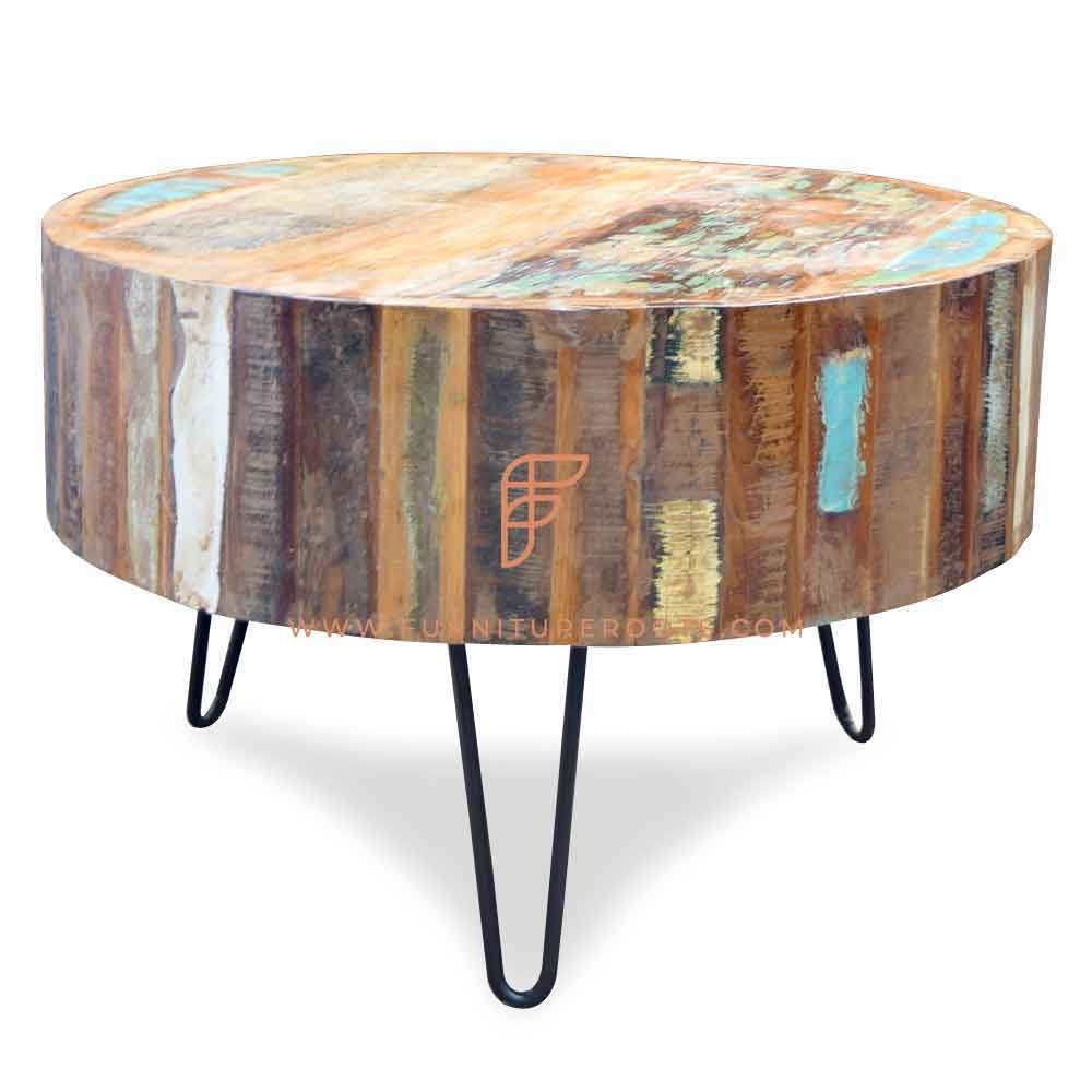 FR Coffee Tables Series Round Coffee Table with Hairpin Legs and Reclaimed Wood Structure