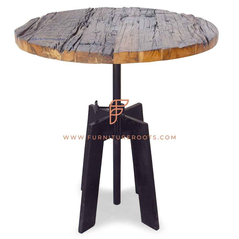 FR Tables Series Dining Table with Cast Iron Table Base and Salvaged Wood Table Top