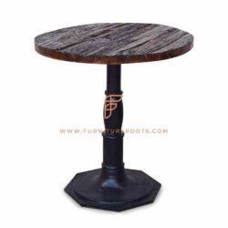 Restaurant Tables Series Round Dining Table With Cast Iron Hexagonal Base And Salvaged Sleeper Wood Table Top