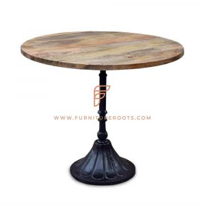 Restaurant Tables Series Round Dining Table With Cast Iron Oval Table Base And Solid Wood Top