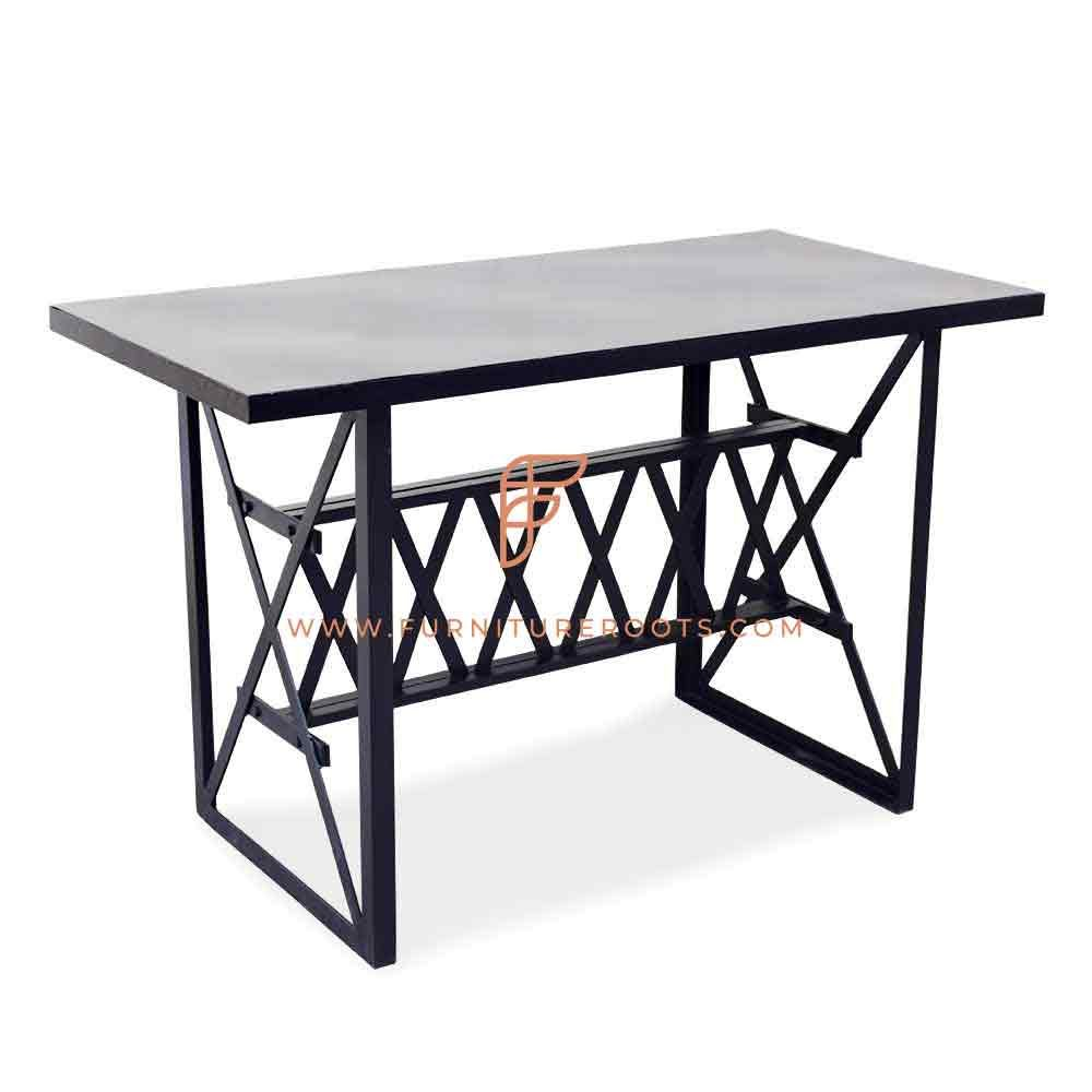 FR Tables Series Designer All Metal Dining Table With Custom Designed Table Base