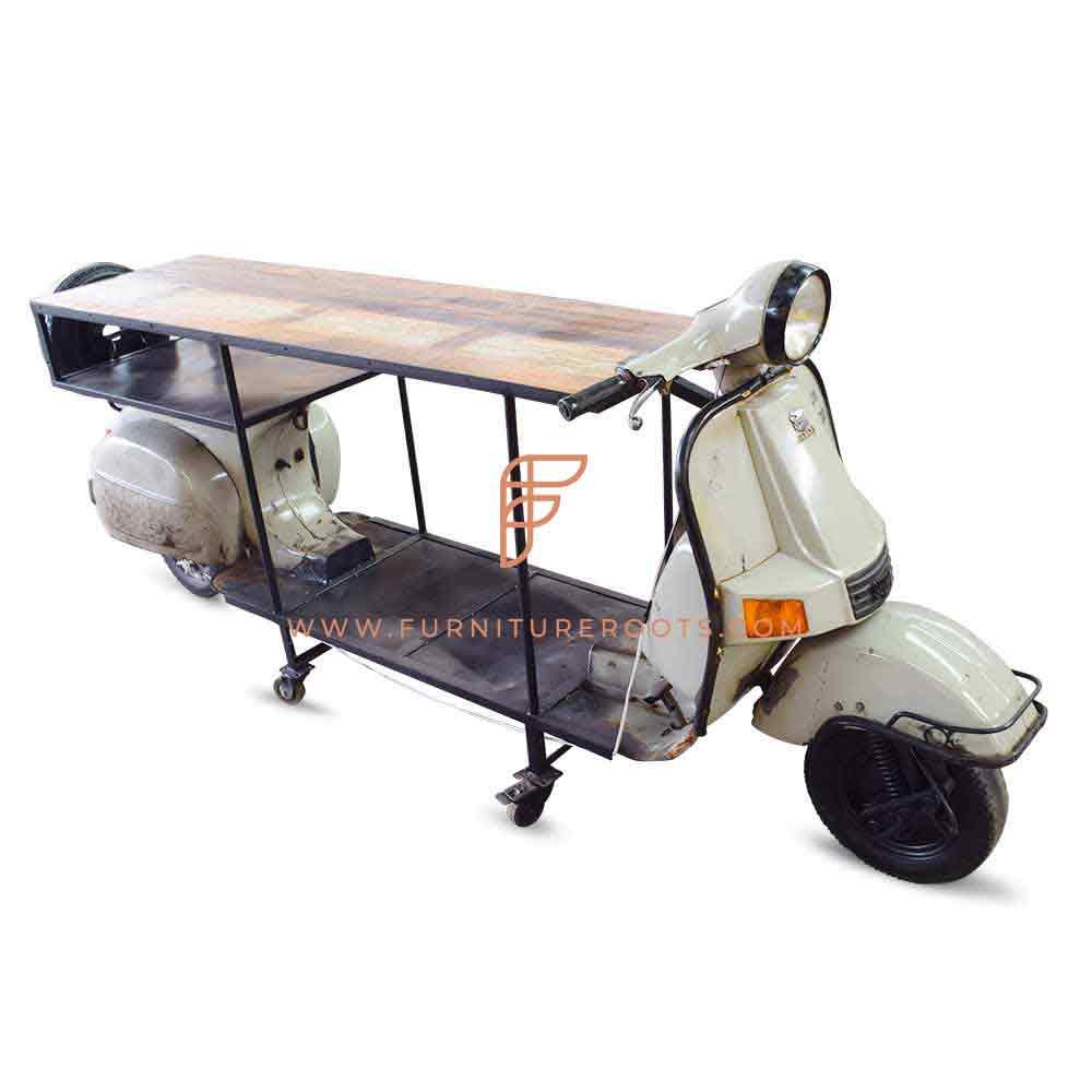 bajaj chetak inspired automotive dining table for restuarant use