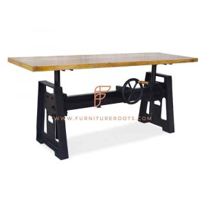 FR Tables Series Industrial-Design Commercial Table With Crank-Based Height Adjustment