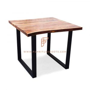 Restaurant Tables Series Industrial-Style Square Table With Square Metal Bases And Natural Edge Wooden Top
