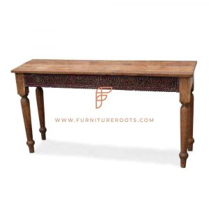 Console Tables Series Solid Wood Lobby Entryway Table With Hand Carved Top And Fluted Legs