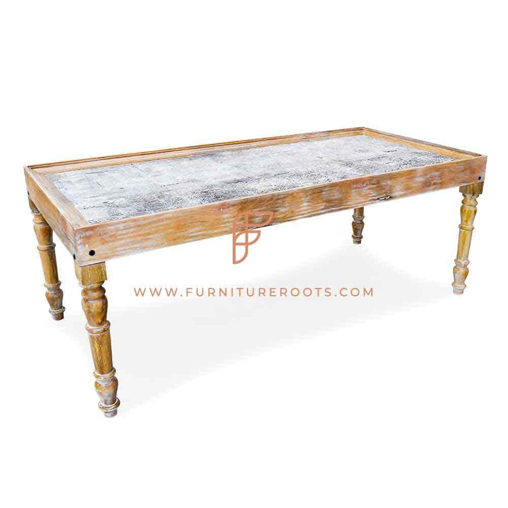 FR Vintage Tables Series Solid Wood Commercial Table With Hand Carved Table Top In Distress Finish