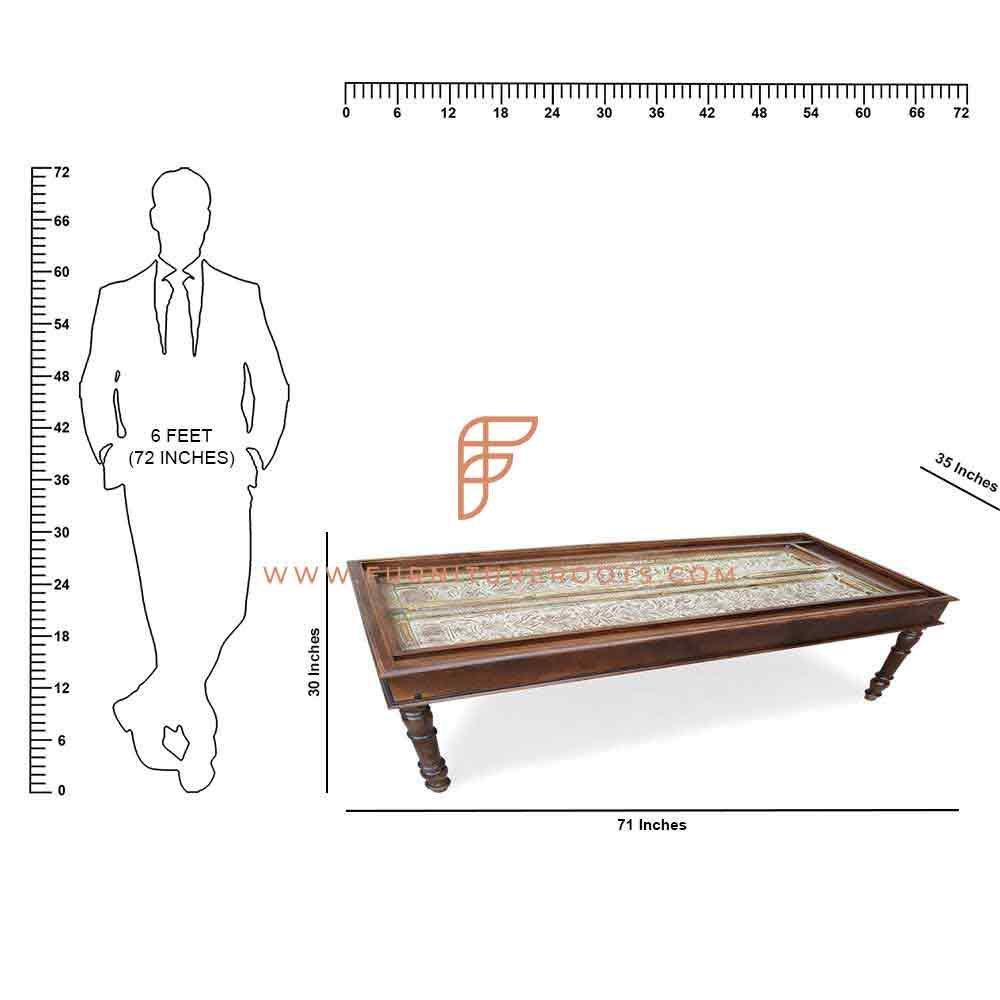 FR Vintage Tables Series Mesa comercial de madeira maciça com tampo entalhado à mão