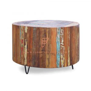 Coffee Tables Series Round Coffee Table with Metal Hairpin Legs Base and Reclaimed Wooden Table Top