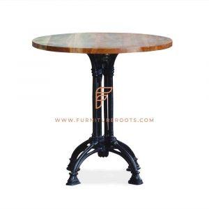 Table de salle à manger série FR Tables avec piètement en forme de croix et dessus de table rond