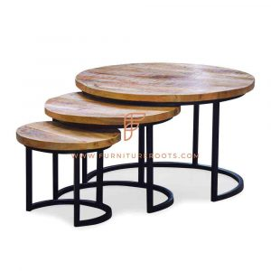 End Tables Series Round Nested Tables in Metal Base and Wooden Table Top (Set of Three)