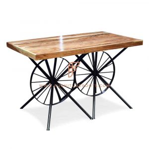 FR Automotive Parts Tables Series Table with Upcycled Twin Wheeled Base and Wooden Table Top