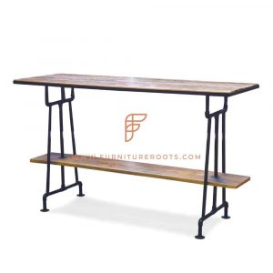 FR Tables Series Bar Height Double-Decker Table with Metal Table Base and Wooden Table Top