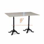 Обеденный стол серии столов ресторана с боковым основанием стола из чугуна и мраморной столешницей