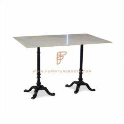 Restaurant Tables Series Eettafel met laterale gietijzeren tafelvoet en marmeren tafelblad