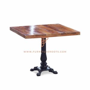 FR Tables Series Dining Table with Cast Iron Table Base and Antique Walnut Wooden Top
