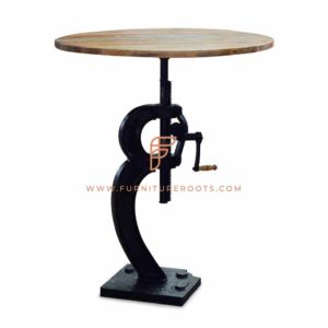 Restaurant Tables Series Height-Adjustable Industrial Table with Crank Table Base and Wooden Table Top