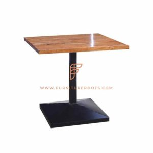 FR Tables Series Dining Table with Square Metal Table Base and Wooden Table Top