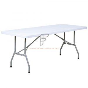 "Rectangular White Blow Molded Plastic Folding Table Size 72"" x 30"""