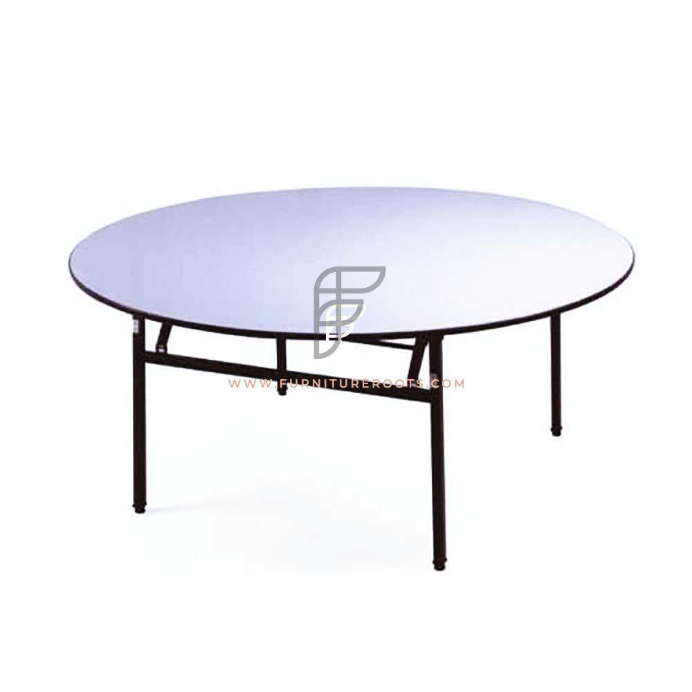 "Round Granite White HDPE Top Folding Table Size 60"" Diameter"