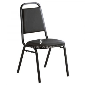 "FR Banquet Chairs Series Trapezoidal Back Black Stacking Banquet Chair with 1"" Padded Seat"