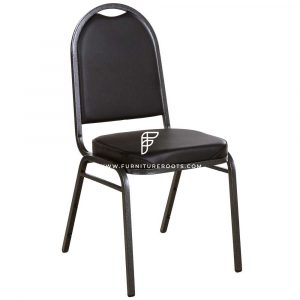 "FR Banquet Chairs Series Dome Back Black Stacking Banquet Chair with 2"" Padded Seat"