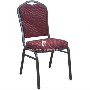 "Crown Back Dull Maroon Fabric Stacking Banquet Chair with 2"" Padded Seat"