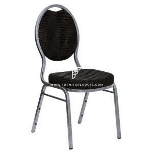 "FR Banquet Chairs Series Teardrop Back Charcoal Fabric Stacking Banquet Chair with 2"" Padded Seat"