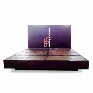 King size bedframe in dark walnut finish with inlaid headboard
