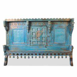 artisanally carved vanity dresser in blue distressed paint