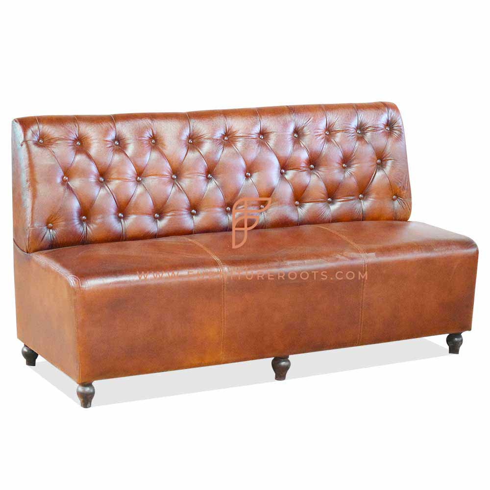 FR Dining Booths Series Custom Tan Tufted Leather Upholstered Booth in Wooden Frame