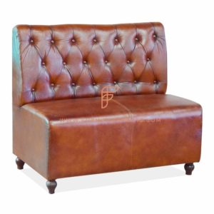 FR Dining Booths Series Custom Tan Tufted Single Back Leather Upholstered Booth in Wooden Frame