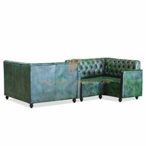 FR Dining Booths Series Custom Distressed Green Tufted Single Back Leather Upholstered Corner Booth with Armrests