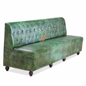 FR Dining Booths Series Custom Distressed Green Tufted Single Back Leather Upholstered Booth