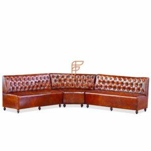 Custom Burgundy Tufted Back Leather Upholstered Curved Corner Booth