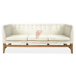 Rustic sofa in white leather