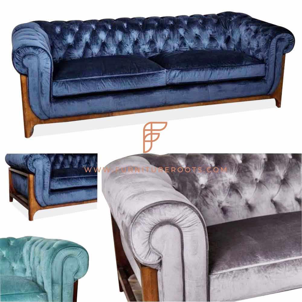 sofa with tufted ottoman