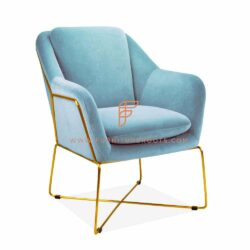 gold plated base in fabric upholstered seating - accent chair by FurnitureRoots