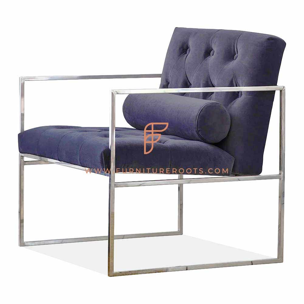 mid century modern armchair in stainless steel metallic frame