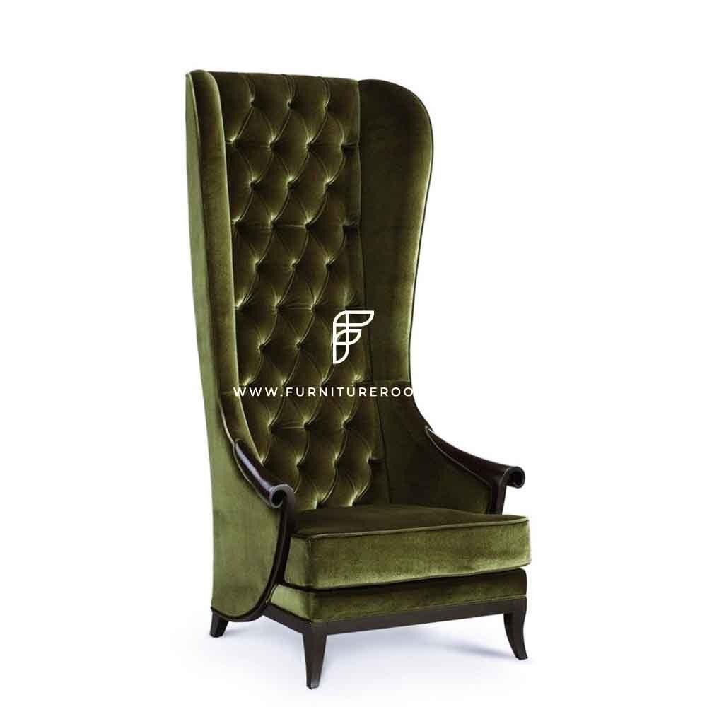 Custom Olive Velvet Upholstered High Back Wing Chair in Wooden Frame