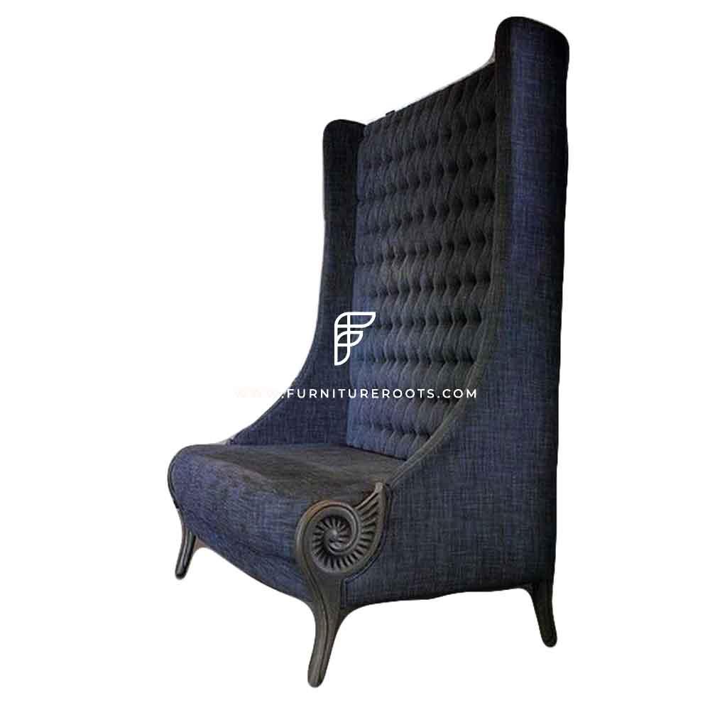 Custom Navy Blue Velvet Upholstered High Back Wing Chair in Wooden Frame