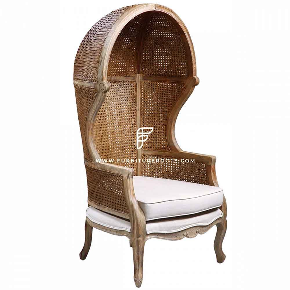 FR Balloon Chairs Series Custom Cane Weave Porter Chair in Wooden Frame