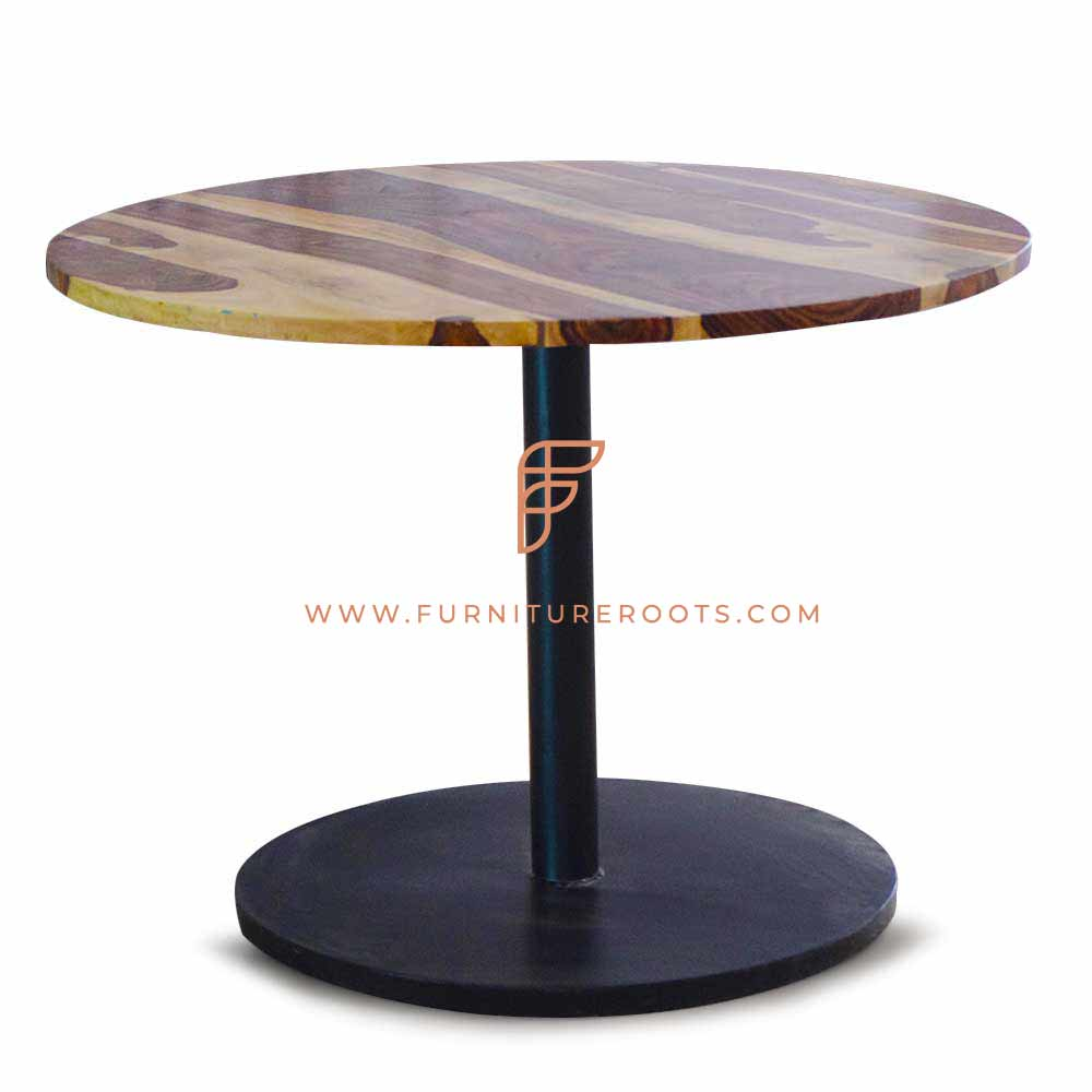 commercial restaurant table with round tabletop and disk base pedestal