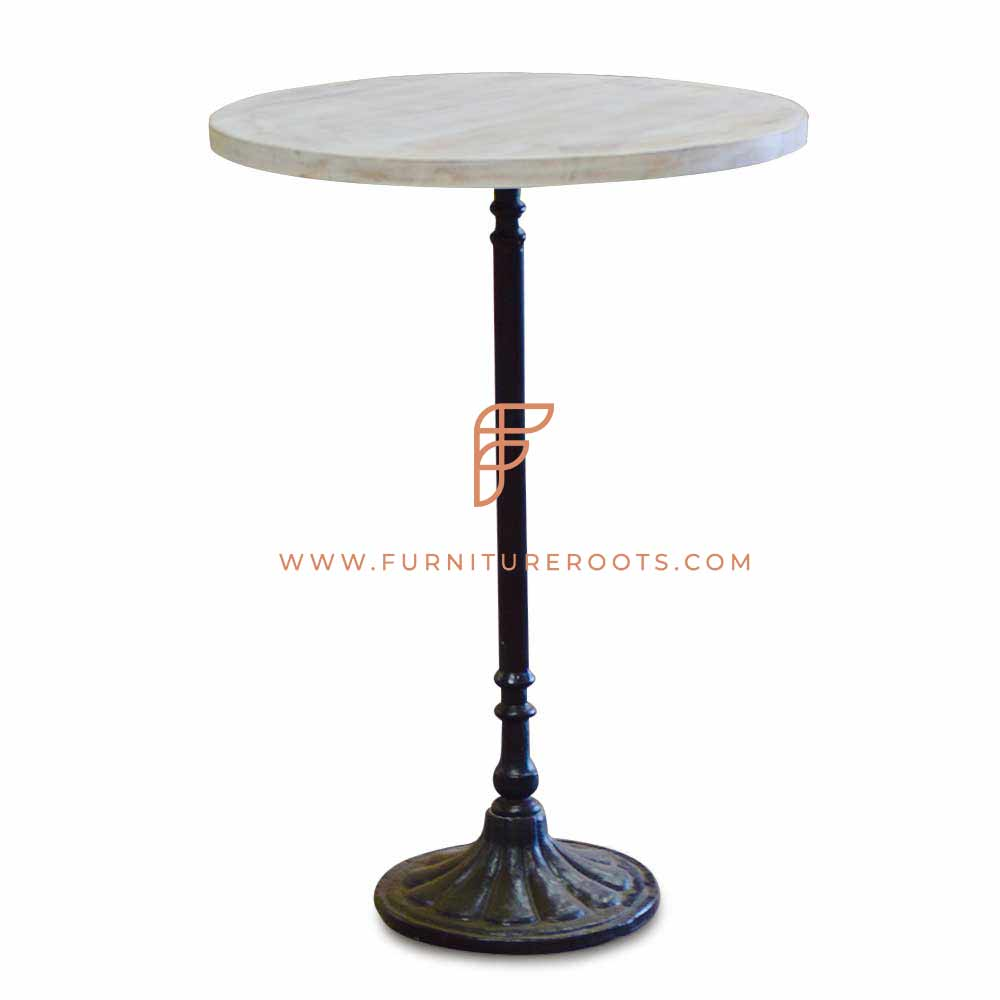 round marble top restaurant table with carved cast iron base for 2