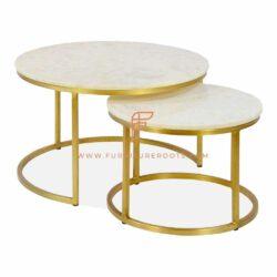 exquisita mesa de centro revestida de mármol