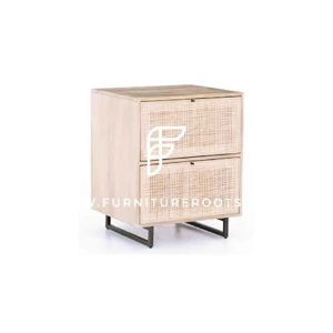 Industrial Design 2-Drawer Cane-Weave Bedside Table in Natural Wood Finish