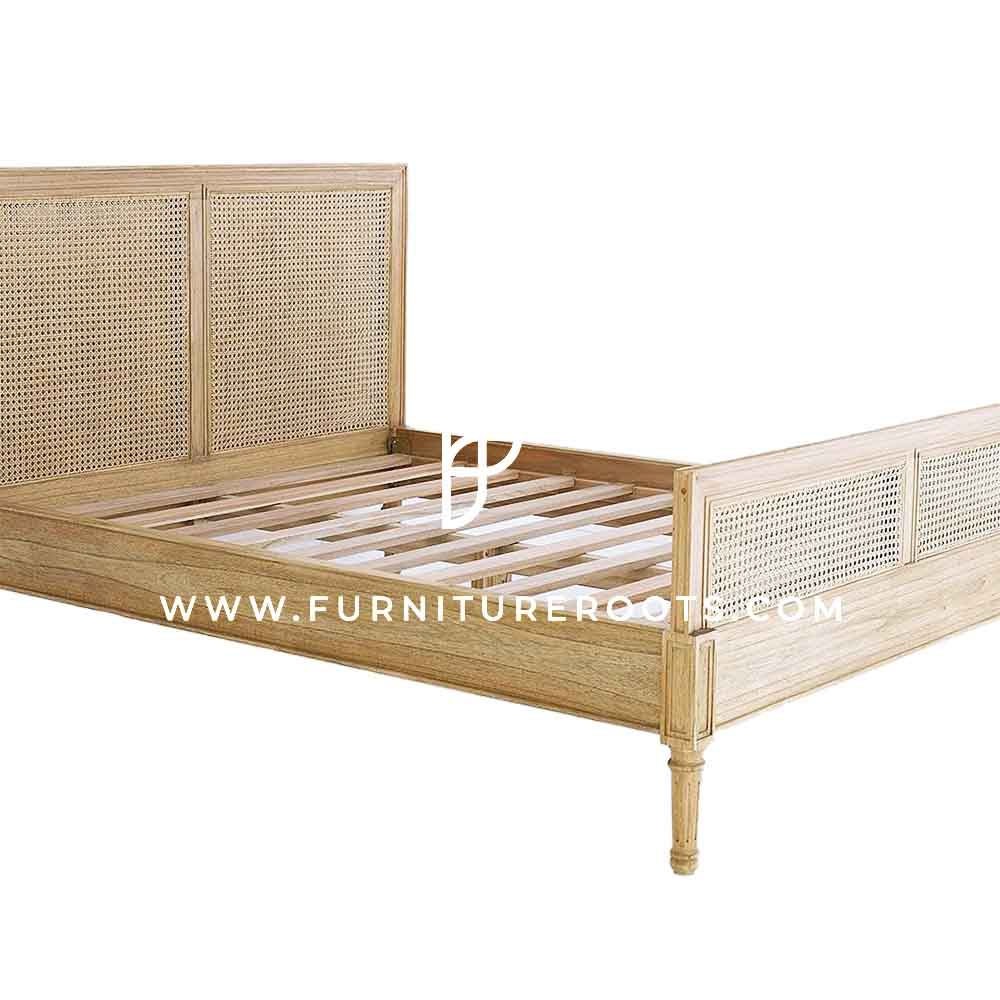 FR Beds Series Classic Queen-Size Carved Wood Bed Base with Cane Headboard in Natural Wood Finish