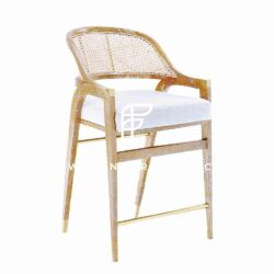 Bar-Height Curved-Back Cane Chair in Wooden Frame & Natural Wood Finish