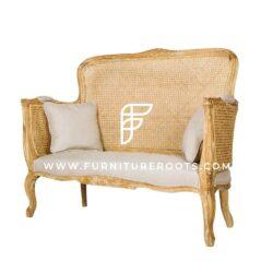 Sofá de dos plazas estilo indio con patas cabriole